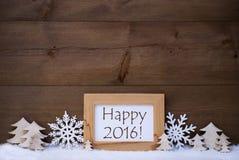 De witte Tekst Gelukkige 2016, Sneeuw van de Kerstmisdecoratie Stock Foto