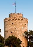 De witte toren bij Thessaloniki stad in Griekenland Royalty-vrije Stock Foto's