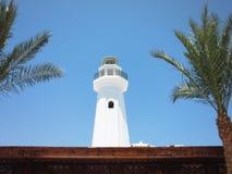 De witte toren van minaret op een blauwe hemelachtergrond tussen twee palmen stock foto's
