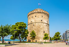 De witte Toren van Thessaloniki stock afbeelding