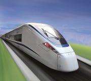 De witte trein van de hoge snelheid Stock Afbeeldingen
