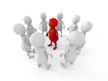 De witte tribune van de teamgroep rond rode leiderswerkgever Stock Foto's