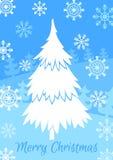 De witte vectorillustratie van de Kerstmisboom Stock Foto