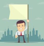 De witte vlag van de zakenmanholding Plaats voor tekst Stock Foto's