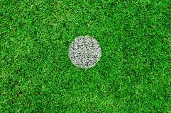 De witte vlek op een voetbalhoogte Stock Foto's