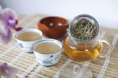 De witte voorbereide thee van de Pioen van het Haar Stock Fotografie
