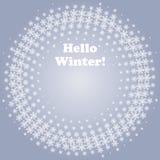 De witte winter van Cirkelhello op Blauwe Achtergrond Wit Halftone Sneeuwvlokkenkader Royalty-vrije Stock Foto's