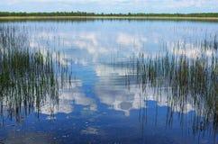 De witte wolken denken in blauw water na Volyngebied ukraine Royalty-vrije Stock Fotografie