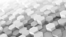 De witte zeshoeken dreven chaotische 3D uit teruggeven royalty-vrije illustratie