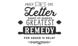 De woede is één brief plotseling van gevaar stock illustratie