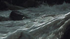 De woedende stroom van het de stroomversnellingwater van de bergrivier steenachtige met witte plonsen stock videobeelden