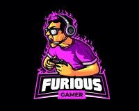 De woedende van het de sportbeeldverhaal van Gamer E Mascotte Logo Badge stock illustratie