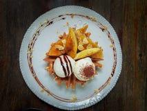 De woestijn in de koffie, It& x27; s wafel Stock Foto