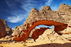 De Woestijn van de Sahara, Tassili N'Ajjer, Algerije stock fotografie