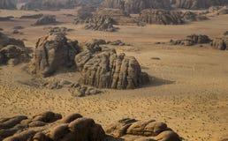 De woestijn van de Wadimrum met typische steenvormen, Jordanië Stock Foto's