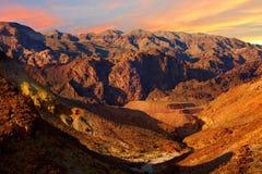De woestijn van Gobi in zonsondergang Stock Afbeelding