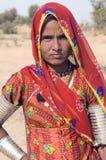 De woestijn van India, Rajasthan, Thar: Kleurrijke Indische wo Stock Foto