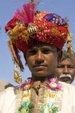 De woestijn van India, Rajasthan, Thar: Kleurrijke tulband Royalty-vrije Stock Foto