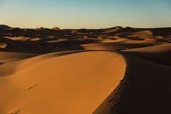 De woestijnzonsondergang van de Sahara Stock Afbeeldingen