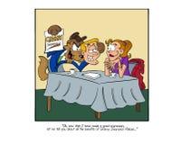 De wolf het bedriegen juffrouw rode bevrijdende kap voor een verzekeringspolitie stock illustratie