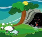 De wolfsjachten op schapen. Stock Afbeeldingen