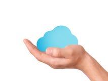 De wolk van de handgreep gegevensverwerkingssymbool Royalty-vrije Stock Afbeeldingen
