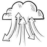 De wolk van de informatie gegevensverwerkingsvector Stock Foto's