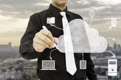 De wolk van de mensentekening het concept van de gegevensverwerkingstechnologie royalty-vrije stock foto