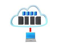 De wolk van de server met een notitieboekje en een rode pijl Stock Foto's