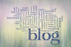 De wolk van het blogwoord tegen motie vaag landschap Stock Foto's