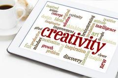 De wolk van het creativiteitwoord op digitale tablet Stock Afbeelding