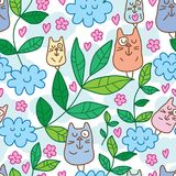 De wolk van het katten zen blad geen slaap naadloos patroon vector illustratie