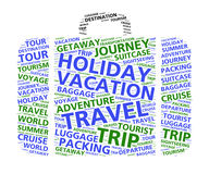 De wolk van het kofferwoord voor wereldreis en vakanties Royalty-vrije Stock Foto