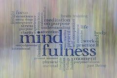 De wolk van het Mindfulnesswoord stock foto