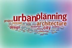 De wolk van het urbanismewoord met abstracte achtergrond royalty-vrije illustratie