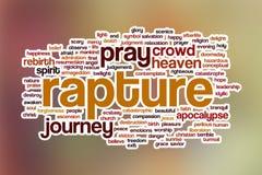 De wolk van het vervoeringswoord met abstracte achtergrond Stock Fotografie