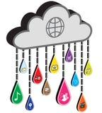 De wolk van Internet met de regendruppels van het toepassingspictogram Stock Afbeelding