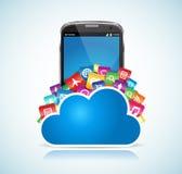 De Wolk van Smartphone Stock Afbeeldingen