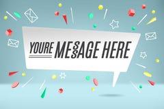 De wolk van de Witboekbel met tekst u is Bericht hier voor emotie, motivatie, positief ontwerp Affiche met tekstbericht Stock Afbeeldingen