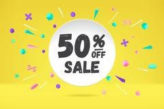 De wolk van de Witboekbel met tekst 50 VAN VERKOOPverkoop, het winkelen promobanner, kortingsontwerp Vectoraffiche met wolk Stock Foto's