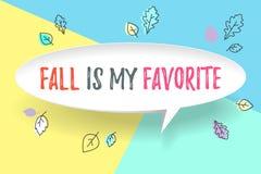 De wolk van de Witboekbel met tekstdaling is mijn favoriet De herfststemming, vreugde, wachtende bladdaling Affiche met tekstberi Stock Foto