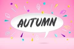De wolk van de Witboekbel met de tekstherfst De herfststemming, vreugde, die op bladdaling wachten Affiche met bel, tekstbericht Stock Afbeelding