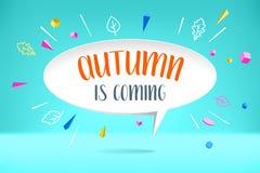 De wolk van de Witboekbel met de tekstherfst komt De herfststemming, vreugde, wachtende bladdaling Affiche met bel, tekst Stock Foto's