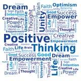 De Wolk van Word - het Positieve Denken Stock Foto
