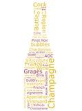 De Wolk van Word van Champagne Stock Afbeeldingen