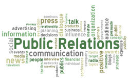 De Wolk van Word van public relations Stock Foto