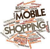 De wolk van Word voor het Mobiele Winkelen stock illustratie