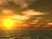 De wolken en de golven van de zonsondergang stock illustratie