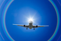 De Wolken en de Regenboog van het vliegtuig Royalty-vrije Stock Afbeeldingen