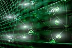 De wolken gegevensverwerking en mededeling van de technologieinfrastructuur Het concept van Internet royalty-vrije stock afbeeldingen